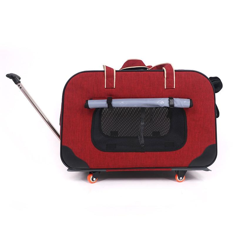 25% carrito para mascotas plegable de cuatro ruedas para perros, carrito para gatos, Maleta, bolsa transpirable, palanca cerrada, luz panorámica, súper transpirable-in Transportines de perro from Hogar y Mascotas    1
