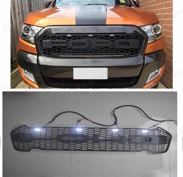 Parrilla de iluminación negra PROTOR frontal RANGER de alta calidad con luz LED de día para parrilla Ford RANGER 2015 2016