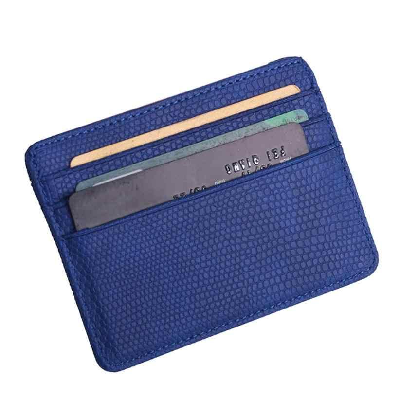2018 small wallet card women Unisex Fashion Women Lichee Pattern Bank Card Package Coin Bag Card Holder 4.28