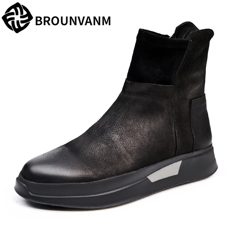 Autumn and winter men leather shoes retro British increased thick soled shoes all-match zipper boots breathable 2017 new autumn winter british retro zipper leather shoes breathable sneaker fashion boots men casual shoes handmade