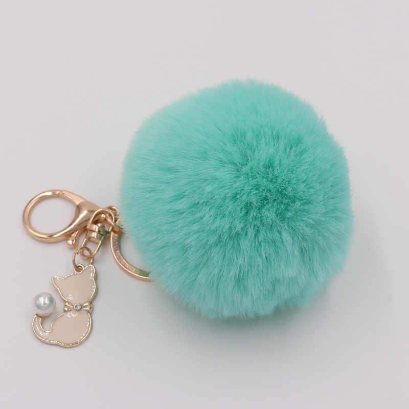 แมวสีชมพูน่ารักสีชมพูน่ารักพวงกุญแจ Pompom ขนสัตว์ปลอมพวงกุญแจตุ๊กตา Pompon กระเป๋า Keyring Charms Key Ring Llaveros Chaveiros