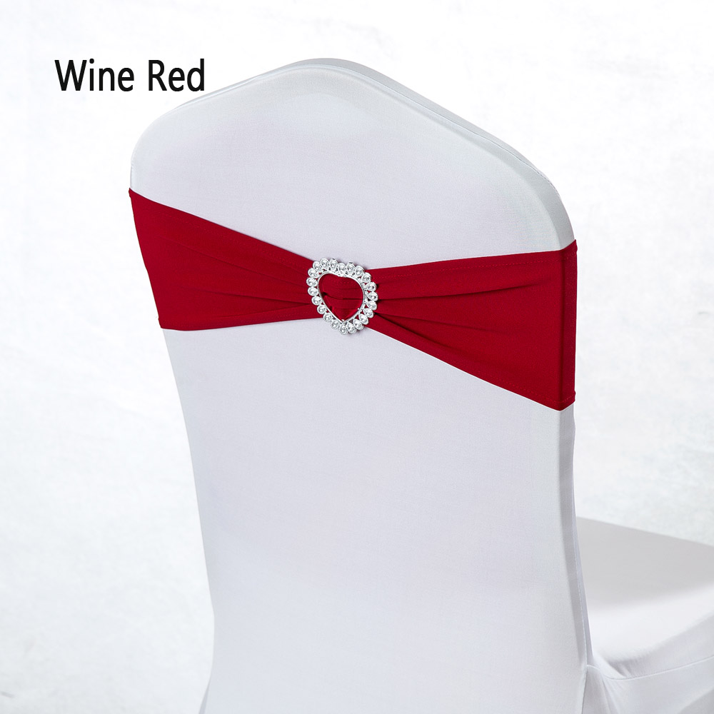 Cheap 100pcs/lot Heart Buckle Stretch Red Chair Band Wedding Decor Elastic Spandex Hotel Banquet Chair Sash Baptism Party Favor(China)