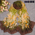 new 2015 fashion scarf spring and Autumn chiffon silk scarf colorful flower solid edge Long sun block foulard women wholesale