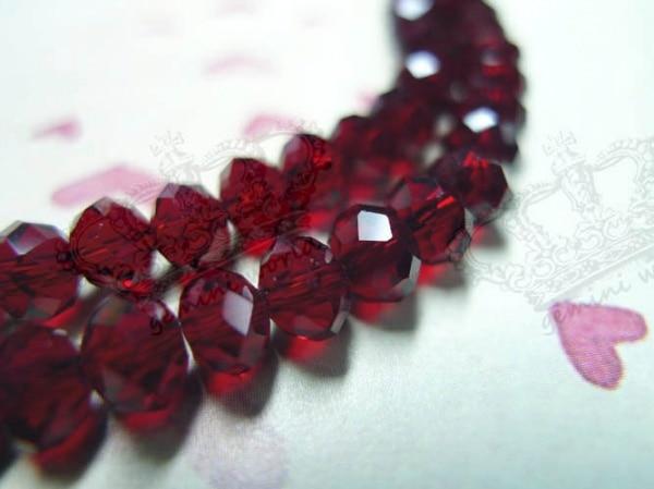 100x6mm Dark Granat Rot Facettierte Rondelle Kristallglas Lose Perlen