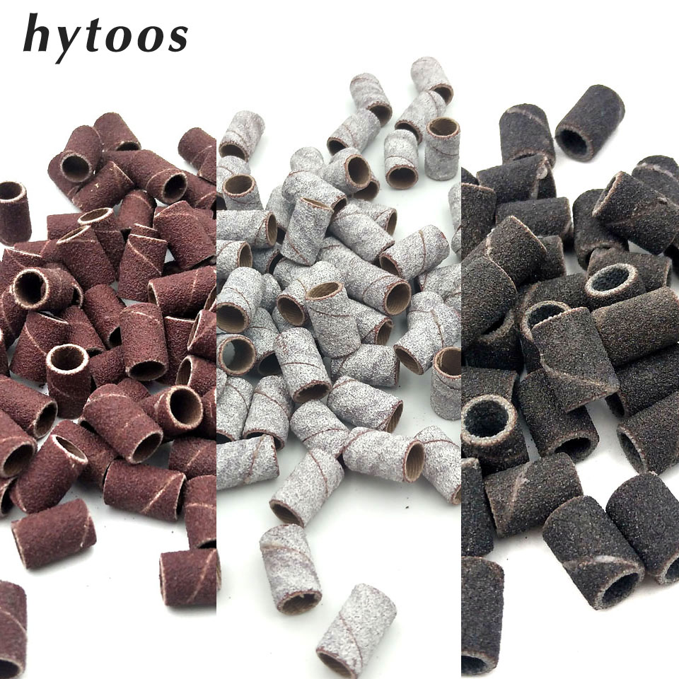 HYTOOS 100Pcs/set 3 Colors Nail Art Sanding Bands Pedicure Tools Electric Nail Drill Accessories Foot Care Tools 80# 150# 240#