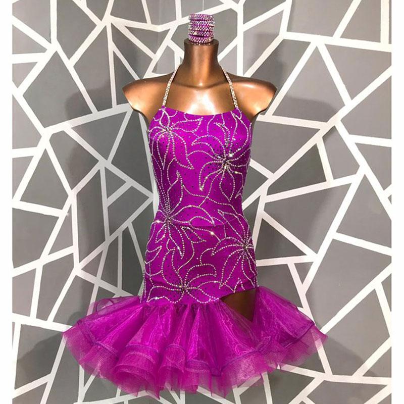 Purple Latin Dance Dress Women Sexy Backless Dress For Latin Dancing Cha Cha Rumba Samba Tango Dance Dresses Lace Short Skirt