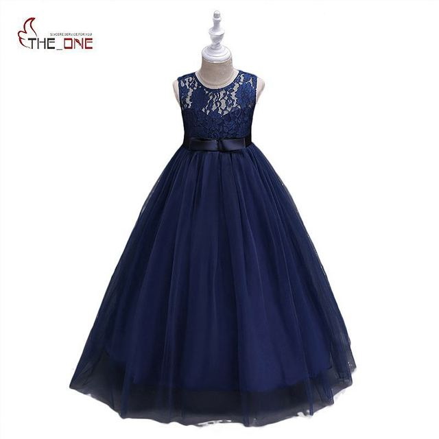 f9d26a0d349f MUABABY Big Girls Princess Dress Children Girl Deluxe Elegant Flower ...