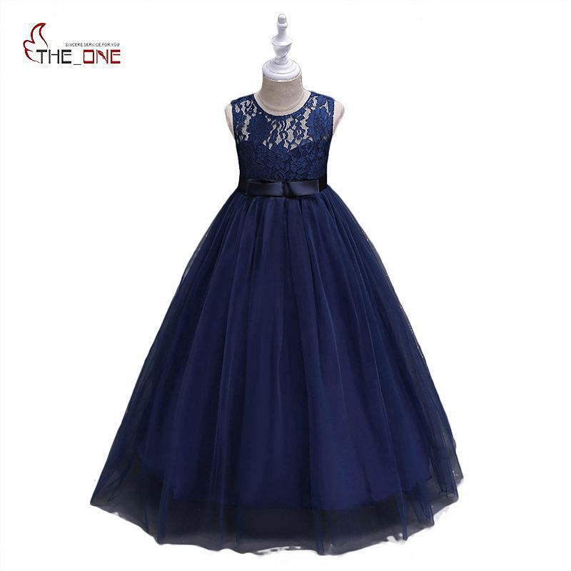 MUABABY Big Girls Princess Dress Children Girl Elegant Flower Hollow Lace Ball Gown Kids Party Wedding Dress Pageant Long Dress boutique white children graduation ball gown elegant lace bowknot flower girl dress for wedding