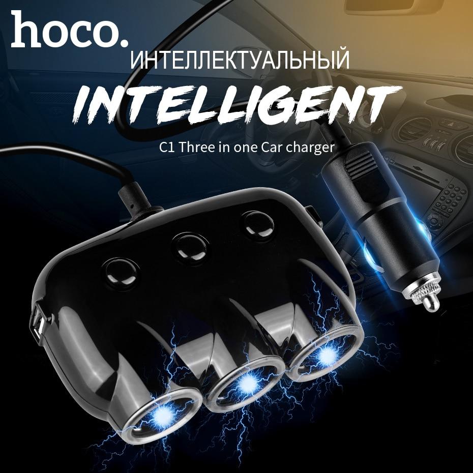 HOCO Cargador de coche tres en uno Puerto USB doble Dual para iPhone - Accesorios y repuestos para celulares - foto 2