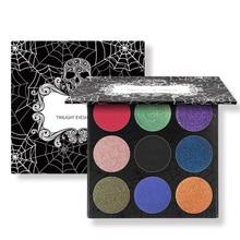 Luckyfine 9 Colors Skull Eye Shadow Palette Halloween Matte Shimmer Diamond Foiled Eyeshadow Cosmetic Makeup Cosplay Tools Gift