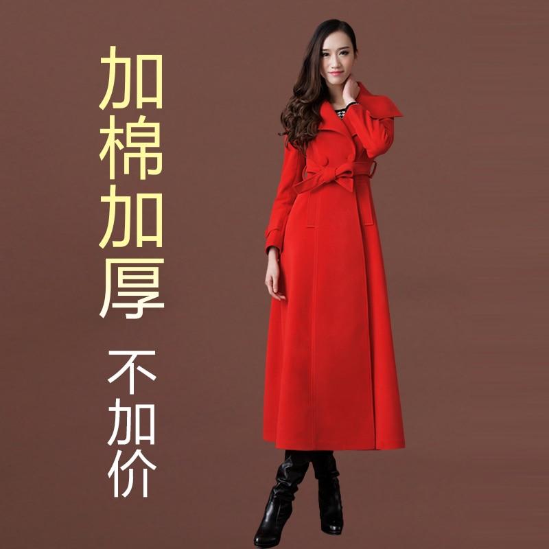 Новое осенне-зимнее шерстяное пальто ультра длинное дизайнерское утепленное шерстяное Женское пальто женское Шерстяное Пальто Верхняя одежда - Цвет: has cotton pad 08