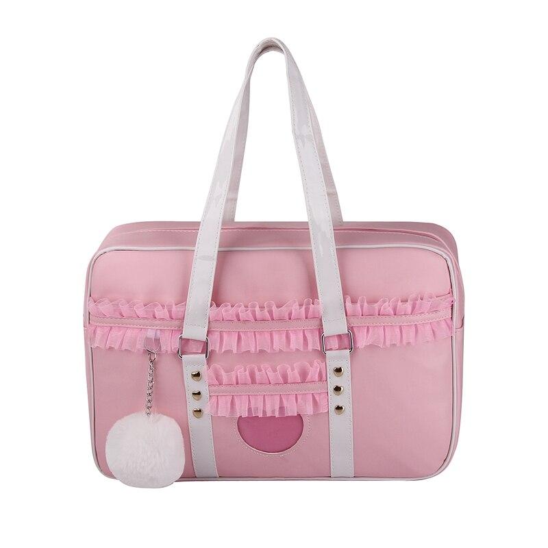 Nouveauté japonais mignon Lolia uniforme rose sacs à main dentelle femmes Kawaii Messenger sacs Transparent amour fourre-tout sac