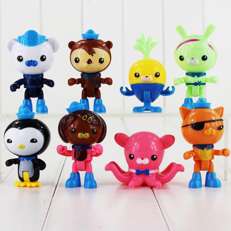 8pcs lot The Octonauts Action Figure Toy Captain Barnacles Kwazii Cat Peso Penguin Shellington Dashi Inkling