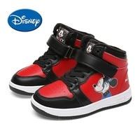 Disney Original Kids Shoes Cute Mickey Cartoon Fashion Skateboarding Shoes Children's Comfortable Non slip Sport Sneakers#00013