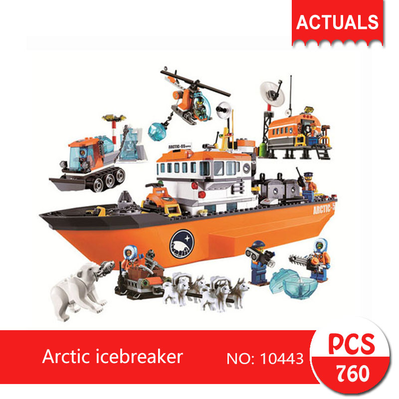Lepin bela 10443 760Pcs City series Arctic icebreaker Model Building Blocks Set  Bricks Toys For Children Gift 60062 bela 10439 compatible lepin city arctic helicrane building blocks policeman figure toys for children girls