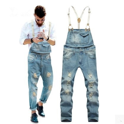 e7f43436902 Male Blue Denim Jumpsuit Overalls Men Ripped Jean Jumpsuits For Men  Salopette Homme Mens Suspender Pants