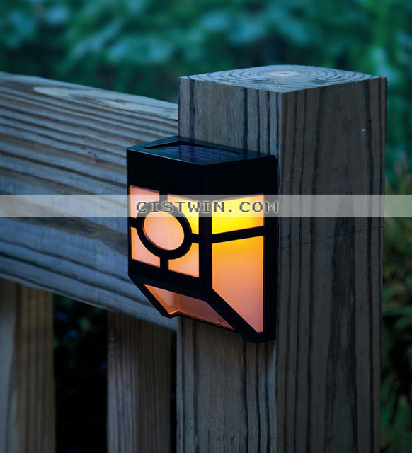 2 Led Mission Style Solar Deck Accent Lights Panel Garden Pathway