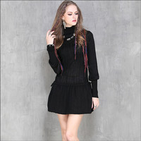 High Quality Winter Warm Cotton Dress Black Long Sleeve Vintage Pencil Dress Women Knitted Dress Turtleneck Sexy Dresses