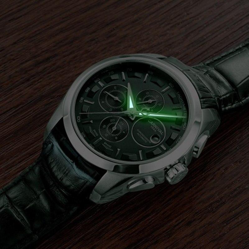 Automatic mechanical switzerland brand men wristwatches fashion luxury leather strap watch waterproof 100M clock relogio reloj - 5
