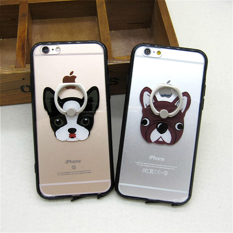 Hot Sale Funny Cartoon Pet Dog Clear Back Cover for Apple IPhone 6 6s 5 5s SE Cute Transparent Phone Case Shell Stand Holder