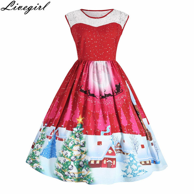 7f15a0f29d Vintage Christmas Printing Dress Women Sleeveless O-Neck Elegant Party Sexy  Dresses Retro 50s Robe Party Dresses Vestidos S-4XL