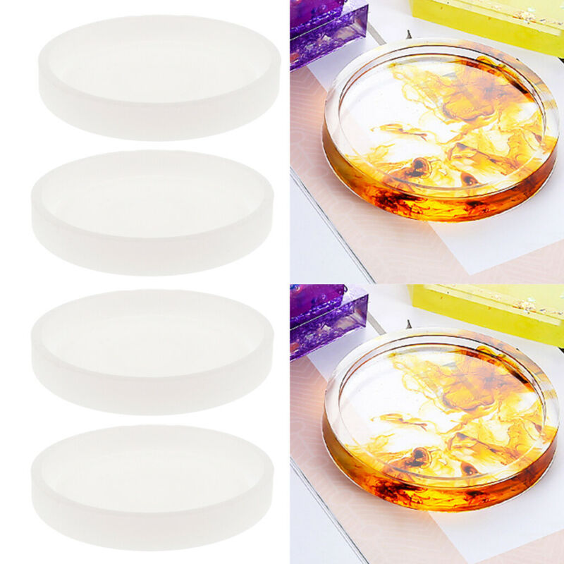 4pcs DIY Round Silica Gel Mold Coaster Resin Casting Jewelry Making Mould Tool For Making Clay Mould Wax Candle