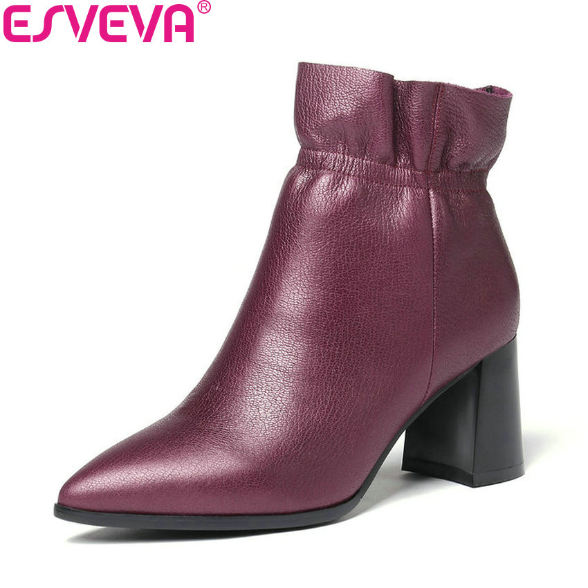 ESVEVA 2019 Zipper Women Shoes Square High Heels Ankle Boots Shoes Ruffles Pointed Toe Fashion Autumn Woman Boots Size 34-43 enmayla fashion front zipper ankle boots women chucky heels square toe high heels shoes woman black yellow suede autumn boots