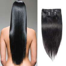 Customized 100% Natural Remy Clip In On Human Hair Extensions 10 Pieces Full Head Long 26″ 28″ 30″ 32″ As Human Hair 180G 220G