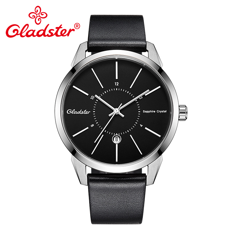 Gladster Luxury Japan MIYOTA2115 Fashion Leather Watch Waterproof Sports Wristwatch Sapphire Crystal Calendar Male Quartz Clock