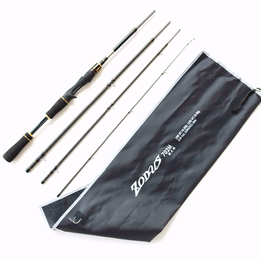Free Shipping 4 Section 2.1m M Power Travel Rod Carbon Portable Baitcasting Rod
