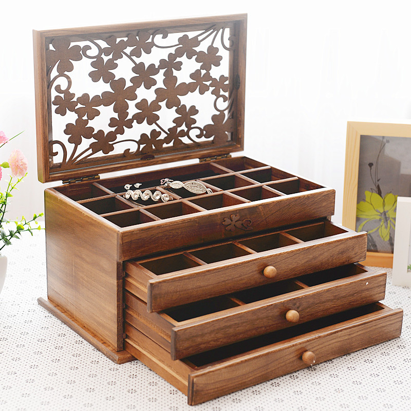 High end jewelry box European solid wood jewelry box jewelry retro storage box wedding birthday holiday