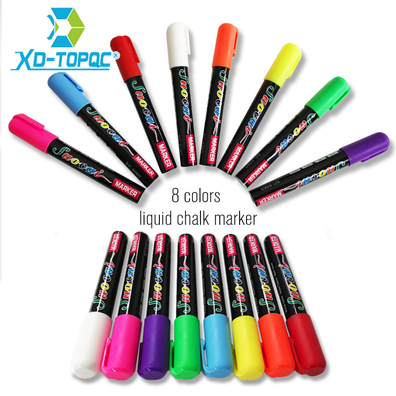 XINDI New Liquid Chalk Highlighter Fluorescent Marker Pen  Erasable Multi Colorful Art Painting For Whiteboard Glass Chalkboard