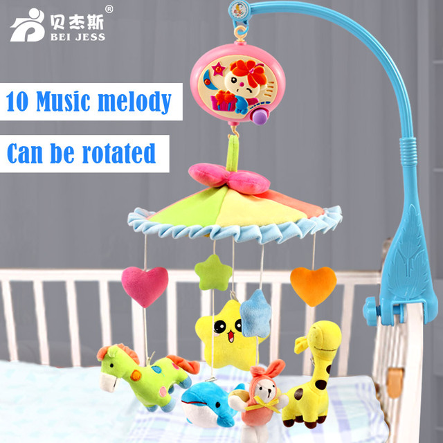 BEI JESS Crib Soft plush Baby Rattle Mobile animal Doll  music rotating bracket toy 0-12 months Newborn Bed Bell Gift