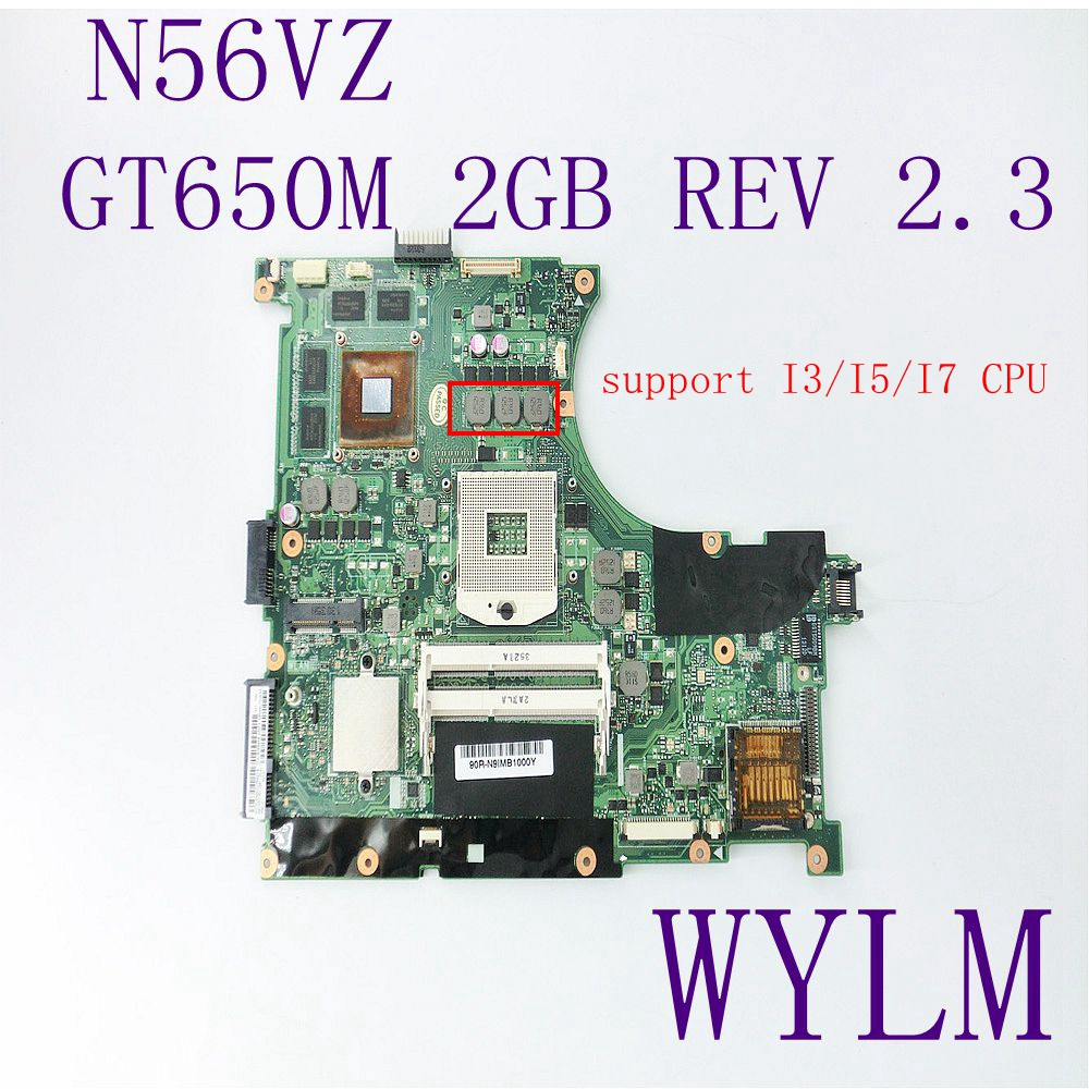 N56VZ Mainboard REV2.3 For ASUS N56VM N56VJ N56VZ N56VB Laptop motherboard N13P-GT-A2 GT650M 2GB 100%fully Tested Free shipping for asus n56vj gt635 2gb rev 2 3 graphic n13p gl a1 laptop motherboard fully tested