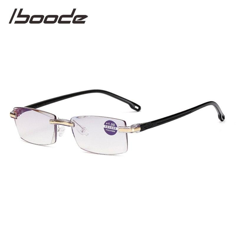 IBOODE Square Frameless Anti Blue Light Reading Glasses Women Men Rimless Presbyopic Eyeglasses Female Male Eyewear Spectacles