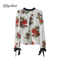 Qlychee Floral Collar Lace Up Bowknot Women Blouse With Padded Shoulders O Neck Long Sleeve Flower