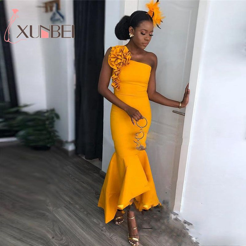 African Nigerian Mermaid H-low Yellow Bridesmaid Dresses 2019 One Shoulder Satin Dress For Wedding Party Maid Of Honor Gown(China)