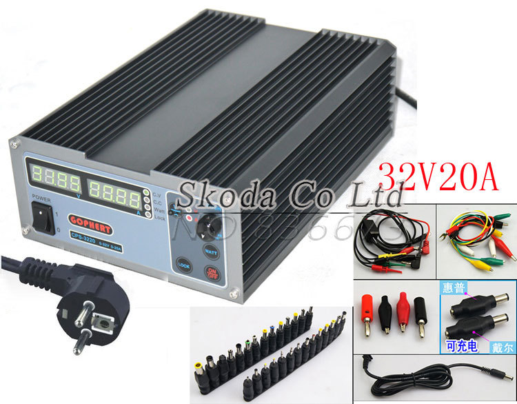 Precision Compact Digital Adjustable DC Power Supply OVP/OCP/OTP 32V20A 220V 0.01V/0.01A EU Cable +Laptop /Notebook DC Jack cps 6003 60v 3a dc high precision compact digital adjustable switching power supply ovp ocp otp low power 110v 220v