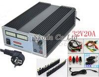 Precision Compact Digital Adjustable DC Power Supply OVP/OCP/OTP 32V20A 220V 0.01V/0.01A EU Cable +Laptop /Notebook DC Jack