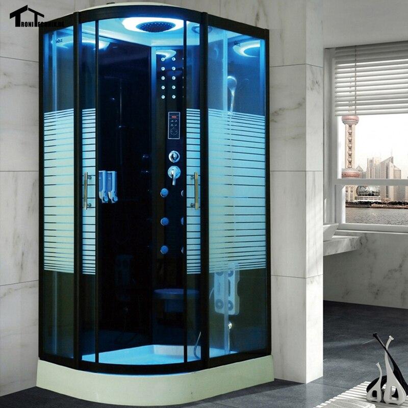 80x120cm black shower cabin no steam bath hydro douche cabine cubicle bathroom enclosure bath. Black Bedroom Furniture Sets. Home Design Ideas