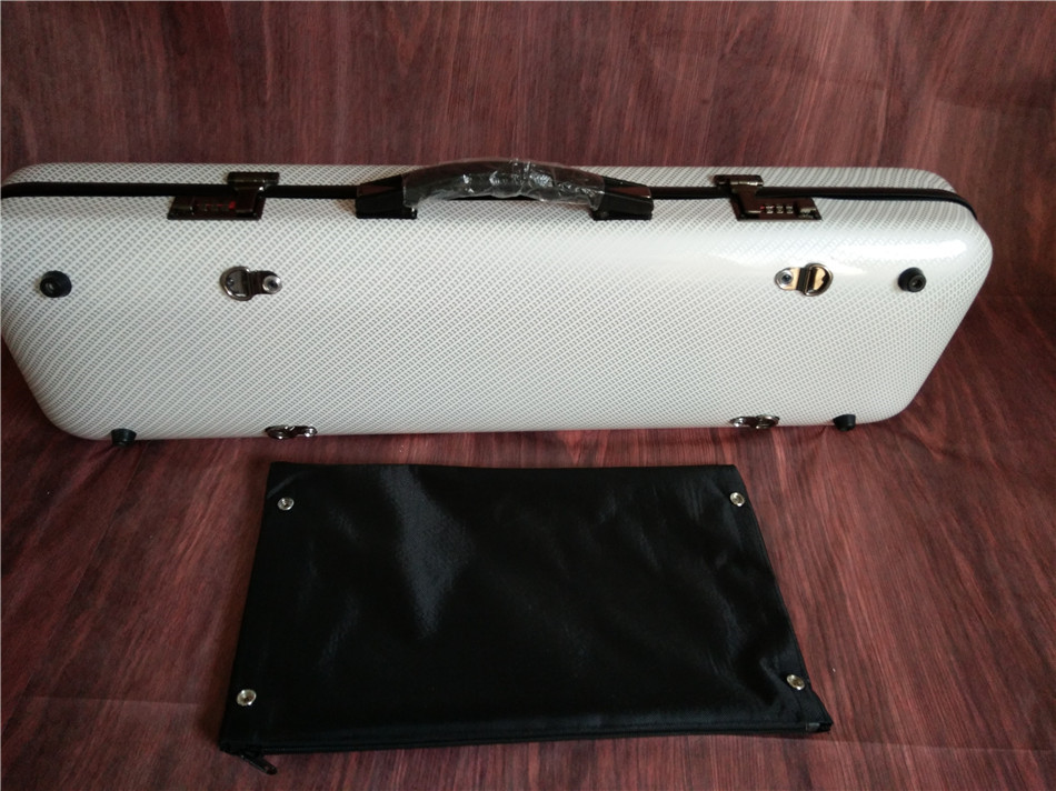 4/4 New Violin Case black white red blue   color  Glass Fiber Light Strong #G10018 Music bag alto saxophone glass fiber case light durable lock blue new white color