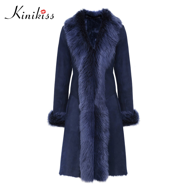 Kinikiss Retro Trench Coat For Women Winter Coat Covered Button Flocking Blue Casaco Feminino Autumn Outerwear Abrigos Mujer