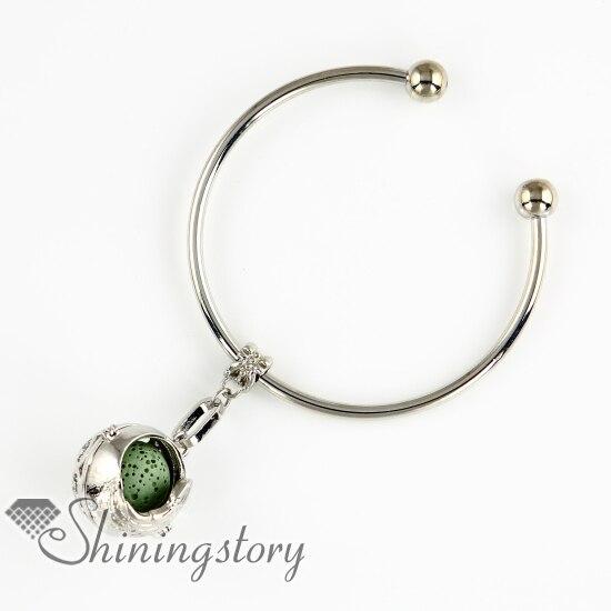 wings openwork metal volcanic stone diffuser pendants essential oil bracelet natural lava stone beads bracelets locket charm