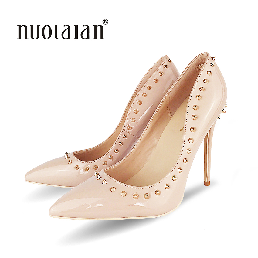 Rivets Shoes Woman High Heels Pointed Toe Sexy 12CM Heels Nude Patent Leather Ladies Shoes Fashion Wedding Shoes Pumps