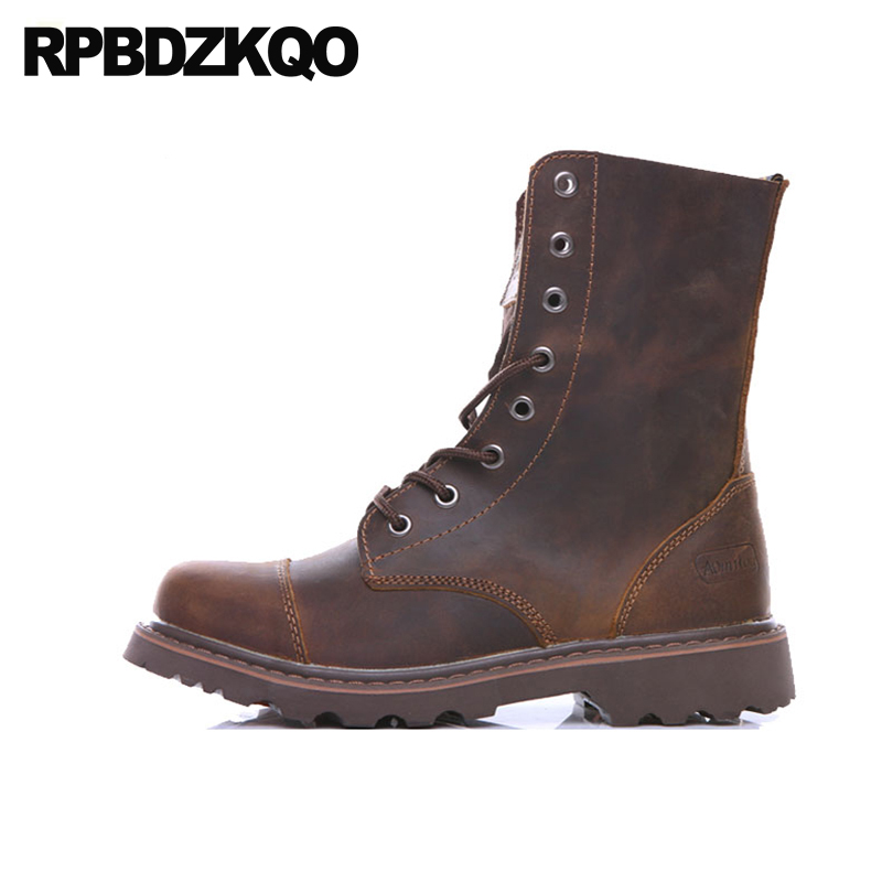 retro combat boots full grain leather military handmade shoes non slip men mid calf brown winter vintage faux fur army autumn недорго, оригинальная цена