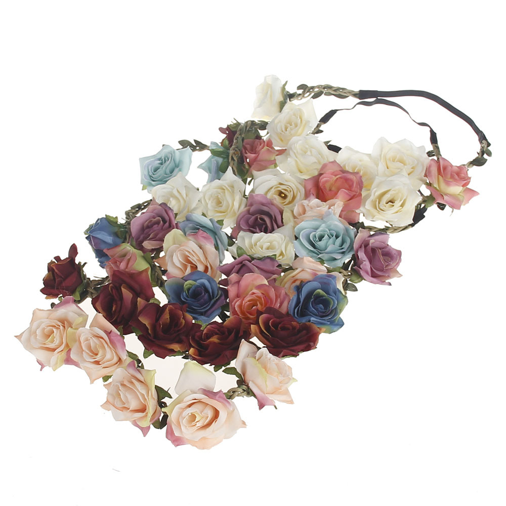 1 pc Wedding Bride Rose Flower Crown Hairband Wedding Flower Headband Garland Festival Flower wreath Elastic Hair Accessories