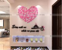 3d 크리스탈 아크릴 차원 벽 스티커 로맨틱 큰 사랑 심장 룸 장식 벽 스티커 diy 재미 벽 데칼 스티