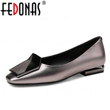 FEDONAS 2018 New Fashion Women Genuine Leather Shoes Square Toe Thin High Heels Luxury Shoes Woman Wedding Party Pumps Big Size