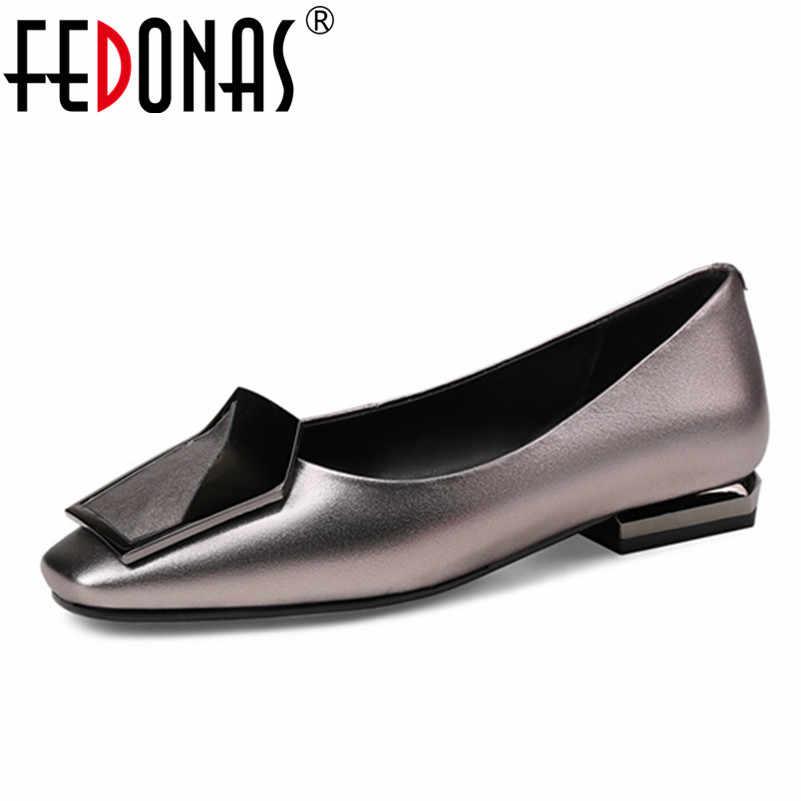 43bb4e98b33 FEDONAS 2018 Новая модная женская обувь из натуральной кожи с квадратным  носком