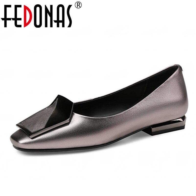 Fedonas 2018 новые модные женские туфли Пояса из натуральной кожи Обувь квадратный носок высокий тонкий каблук Роскошная обувь женские свадебны...